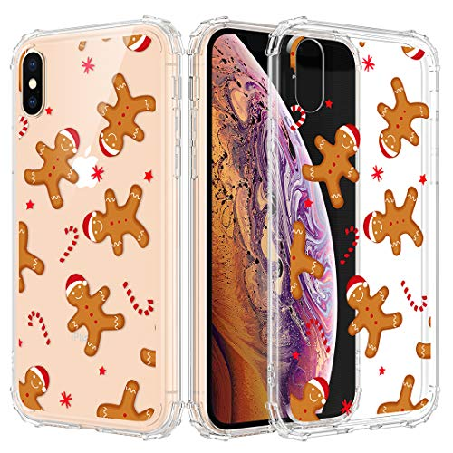Caka Christmas Case for iPhone Xs Max, iPhone Xs Max Clear Floral Case with Christmas Design for Girls Women Girly Cute Slim Soft Premium TPU Protective Case for iPhone Xs Max (Gingerbread Man)