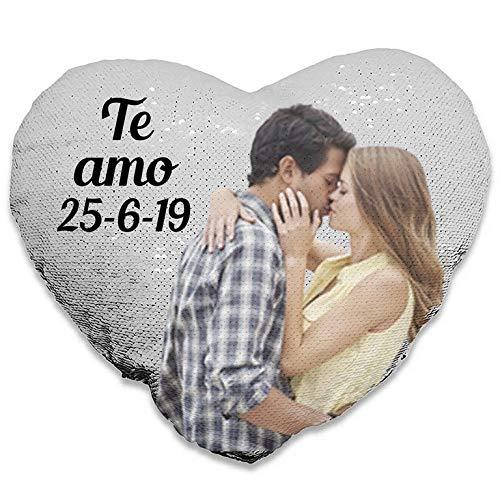 Oyc Original y Creativo Cojín Personalizado Lentejuela, con Foto