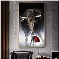 アートパネル ZXYFBH 壁の装飾マタドールポスタープリント壁アートキャンバス絵画リビングルームの家の装飾のための闘牛の写真フレームなし壁アート15.7x19.7in(40x50cm)x1pcsフレームなし