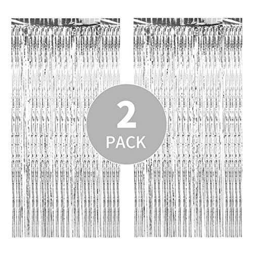 2 Pack 3.3ft x 9.8ft Silver Metallic Tinsel Foil Fringe Curtains, Perfect Photography Background for Brithday/Graduation Party Decoration Supplies, Suitable for Any Theme Parties (Silver)