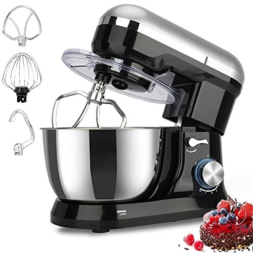 Elegant Life Küchenmaschine,1500W Küchenmaschine Rührgerät,8-Gang-Teigmischer mit Kippkopf-4.5L Edelstahlschüssel,einschließlich Schläger,Teighaken,Schlagbesen und Spritzschutz