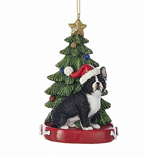 Kurt Adler French Bulldog with Christmas Tree ANE Lights Ornament for Personalization