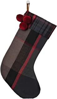 Hearth & Hand with Magnolia Christmas Plaid Holiday Stocking, Black and Red