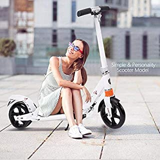 Kids/Adult Scooter with 3 Seconds Easy-Folding System, 220lb Folding Adjustable Scooter with/Without Disc Brake and 200mm Large Wheels (Black-Middle)