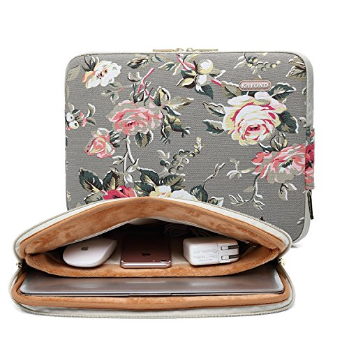 KAYOND Gery Rose Patten canvas Water-resistant 17 Inch Laptop Sleeve case for 15.6 -17 inch Notebook Computer