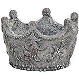 matches21 Dekorative Pflanzschale Schale Krone aus Magnesia auch für Draußen grau 9x14 cm...