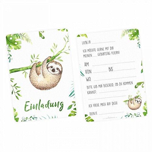 nikima Schönes für Kinder - 5 Einladungskarten Faultier Dschungel Grün inkl. 5 Transparenten Briefumschlägen Kinder Geburtstag Mädchen Junge Einladung Feier Aquarell