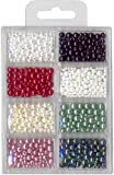 Meyco Wachsperlen ca. 1200 St. v 2,0, 3mm 4mm 5mm & 6mm 8 Farben gemischt