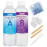 FanAut Epoxy Resin Crystal Clear for Art, Crafts, Tumblers, Casting and Jewelry Making 18.5 Ounce with 2 Droppers, 2 Sticks,1 Pair Gloves and 1 Pack of Resin Glitter