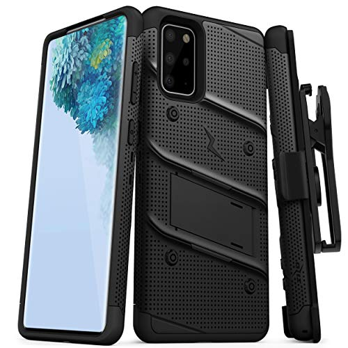 ZIZO Bolt Series for Galaxy S20 Plus Case with Kickstand Holster Lanyard - Black