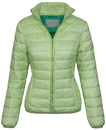 Rock Creek Selection Damen Steppjacke Übergangs Jacke Kapuze gesteppt Daunen-Look [D-210 - LightGreen - Gr. S]