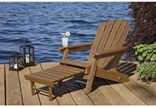 Merry Garden Faux Wood Folding Adirondack Chair with Pull-Out Ottoman.