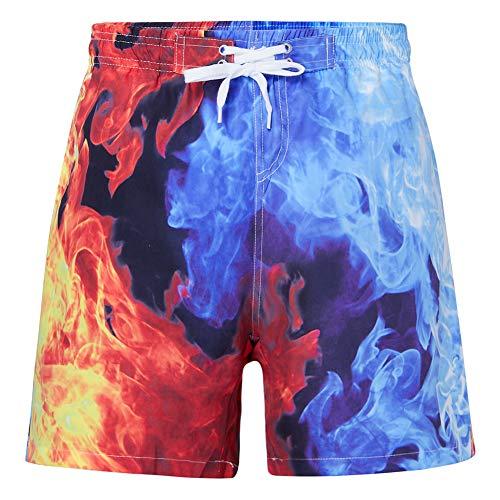 RAISEVERN Niños Fumadores Chimeneas Fuego Gráficos Pantalones de natación Entrenamiento Pantalones Deportivos Pantalones Cortos de Playa de Verano Pequeños