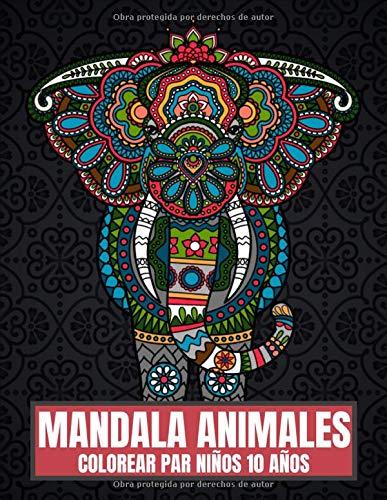 Mandala Animales Colorear Par Niños 10 Años: El libro para colorear ligeramente diferente con 65 grandes animales poligonales para niños de 10 años para colorear y como modelo para los educadores.
