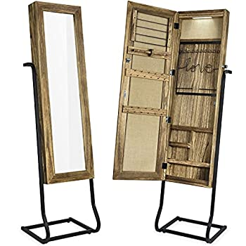 SRIWATANA Jewelry Armoire Cabinet Solid Wood Standing Jewelry Organizer with Full Length Mirror  Carbonized Black