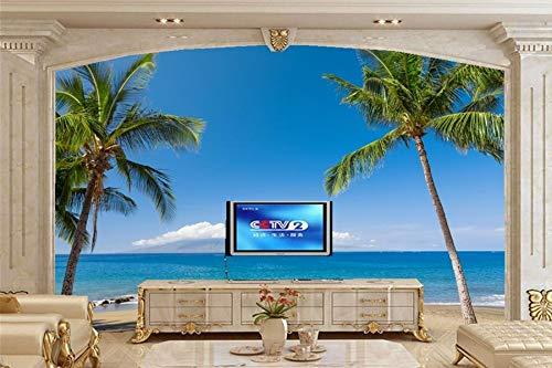 Tropen Küste MeerHawaii Palma Sand Natur Tapeten Tapete, Wohnzimmer TV Sofa Wand Schlafzimmer 3d Tapete Landschaft-300 * 250cm