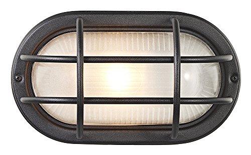 Mat zwart gegoten aluminium buiten ovale schot wandlamp