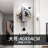 WEILAN - Reloj de pared para salón (ligero, lujo), diseño de personalidad, con elegante decoración nórdica, tamaño grande, 40 x 64 cm, color negro
