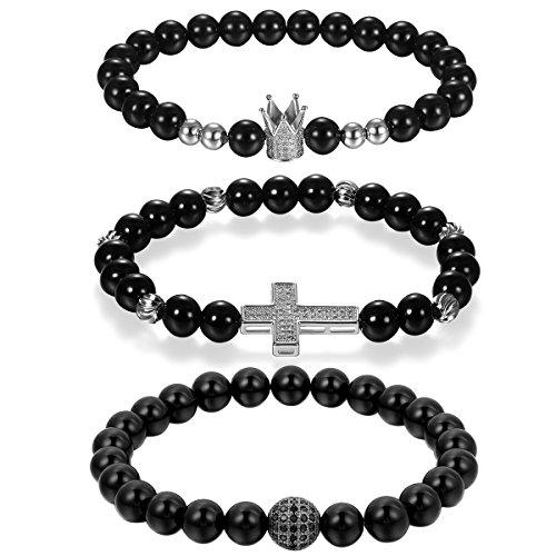 Cupimatch 3pcs Buddha Onyx Armband Armreif 22cm, 8MM Achat Energie-Stein Kugelkette Gebet Mala Stretch 23cm mit Krone Kreuz Anhänger Armschmuck für Damen Herren, schwarz Silber