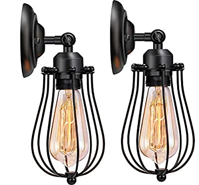 Wire Cage Wall Sconce, Licperron Industrial Wall Light Antique Black Mini Vintage Wall Lamp