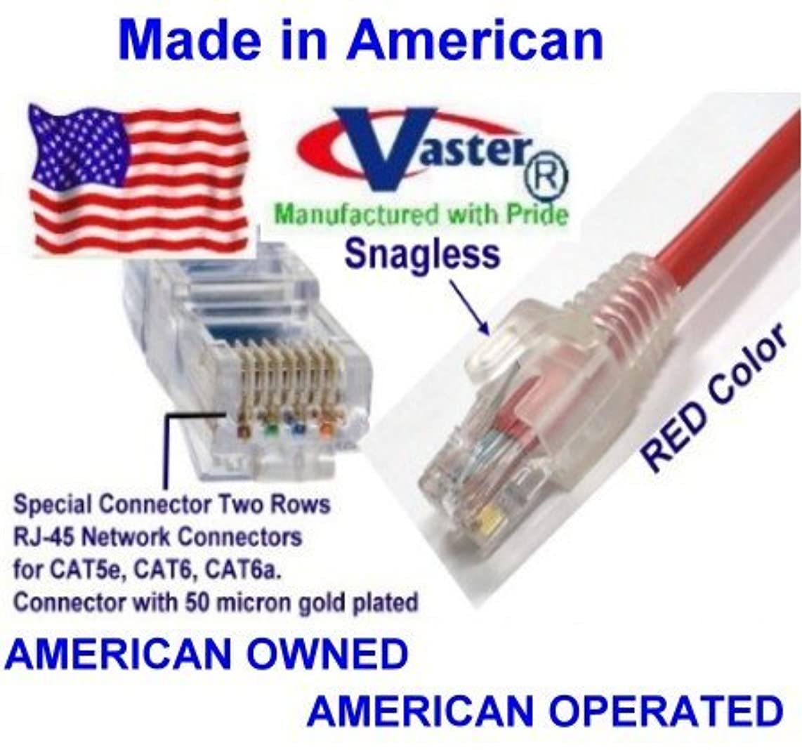 SuperEcable - USA-0677 - 40 Ft UTP Cat5e - Made in USA - RED – UL 24Awg Pure Copper – Ethernet Network Patch Cable