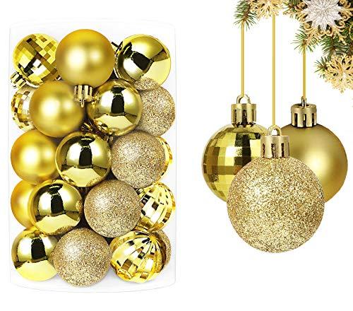 Qhui Palle di Natale, 34 Pezzi Addobbi Albero di Natale Plastica, Decorazioni Piccole Addobbi Natalizi per Albero Oro per la Casa Palline Natale (40mm / 1.57'')