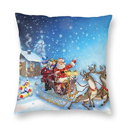 NiBBuns - Funda de cojín de Navidad con diseño de Papá Noel en trineo con reno y juguetes en nevado Polo Norte de la imagen de fantasía, decorativa cuadrada de 45,7 x 45,7 cm