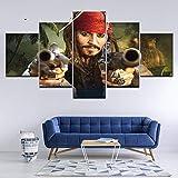 Pintura de Lienzo Piratas del Caribe 5 Piezas Pintura de Arte de Pared Fondos de Pantalla modulares Impresión de póster para Sala de Estar Decoración del hogar + Pintura de Lienzo Personajes de p