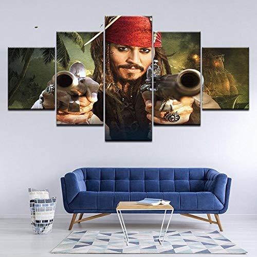 ZDDBD Pintura en Lienzo Piratas del Caribe, 5 Piezas, Pintura artística para Pared, Fondos de Pantalla modulares, póster, impresión para Sala de Estar, decoración del hogar