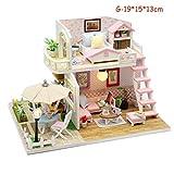 Zaoyun Maison de Poupée,Miniature DIY Maison à Construire Maison Miniature en Kit Mini Maison en Bois avec Lumière Jouet Décoration Accessoire de Poupée (G-19 * 15 * 13cm)