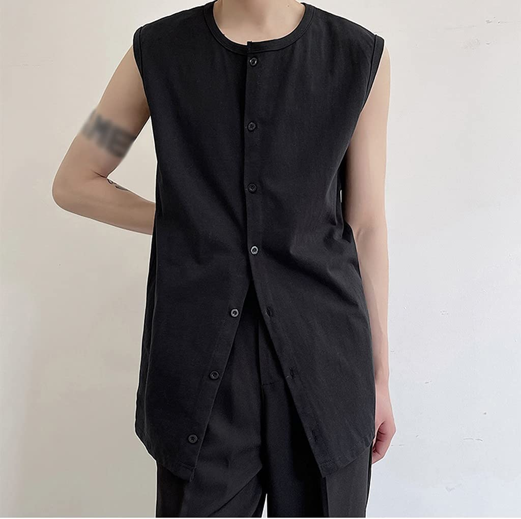 FENXIXI Summer Men Large Loose Sleeveless Cardigan Round-Necked Row Button-Down Solid-Color Tank Top (Color : Black, Size : XL Code)