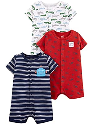 Simple Joys by Carter's Boys' 3-Pack Snap-up Rompers, Alligators/stripe/Diggers, 6-9 Months