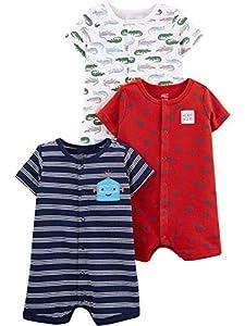 Simple Joys by Carter's - Pelele de bebé (3 unidades) ,Alligators/Stripe/Diggers ,6-9 Meses