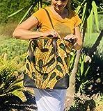 Tote bag Wax Sac Cabas wax tissu Africain Pagne jaune et kaki - sac éthnique idée cadeau femme
