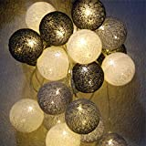 Fairy Lights LED String Lights 20 PCS Indoor/ Outdoor Cotton Ball String Lights Warm White Fairy Lights Starry Wall Light Wedding Party ,Home ,Christmas, Garden (Batteries, Gray)
