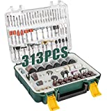 POPOMAN Rotary Tool Accessories Kit, 313pcs Grinding Polishing Drilling Kits, 1/8' Shank Electric Grinder Universal Fitment for Easy Cutting, Grinding, Sanding, Sharpening, Carving and Polishing
