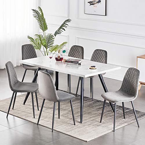 2er Set Esszimmerstühle Wohnzimmerstuhl Sessel mit Rückenlehne Sessel Stuhl Scandinavian Vintage Künstlich Wildledersitz mit Stahlbeinen in Schwarz (Samt grau, 6)