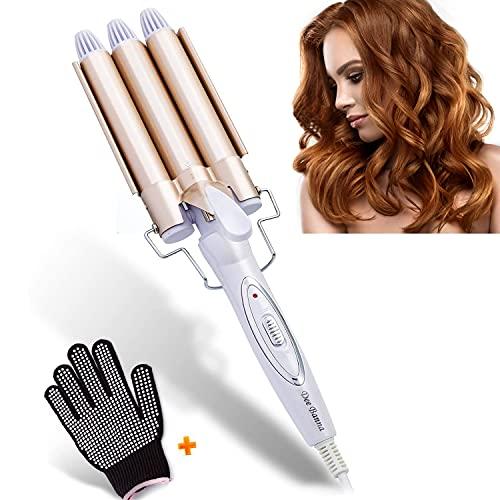 Dee Banna D-02(22mm) Rizador de de pelo de cerámica, férula de ondulación permanente grande 3 barril herramientas de peinado de cabello rizado