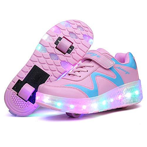 EnergyPower ローラーシューズ 360度光るソール USB充電 2輪式 前輪取り外し可能・後輪はワンボタン収納式 全周LEDライト内蔵 前後ダブルローラー 2ウィール 靴の裏も光ります ローラーをしまえば普通の子供用運動靴に キッズスニーカー LEDイルミネーション 通気性抜群 環境保護素材 ベルクロ&シューレース ローラースケート靴 (29(18cm), ピンク)