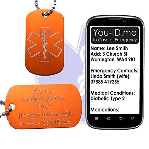 Dementia Medical Alert ID SOS Collar Etiqueta Naranja Grabado Armada de Aluminio Etiqueta Colgante Colgante de la Joyería Dispositivo Smartphone Servicio de Alerta Médica