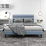 Platform Bed Frame Queen Size with Upholstered Headboard and Footboard Strong Wooden Slats/Mattress Foundation/No Box Spring Needed/Easy Assembly,Light Grey