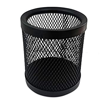 Rely+ Mesh Pen and Pencil Holder  4  Height  Durable Metal - Black  Pack of 1 .Mesh Wire Pencil Cup Holder