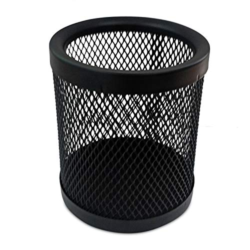 RELYPLUS Mesh Pen and Pencil Holder (4' Height), Durable Metal - Black (Pack of 1)