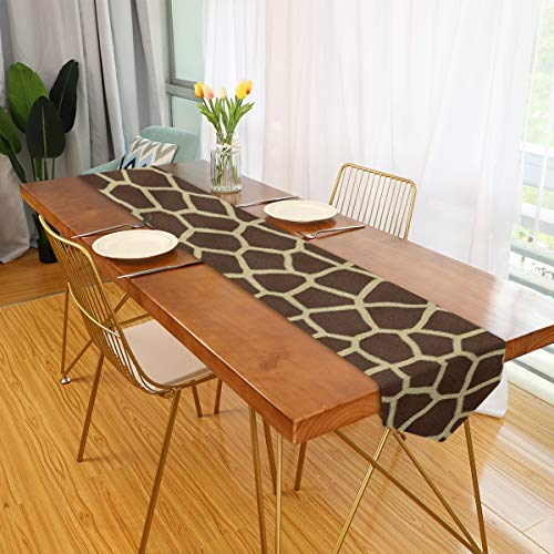 senya 13 x 70 inch Fabric Table Runner Place Mats Animal Print Giraffe Texture for Kitchen Dining Wedding Party Table Decor Party Decoration
