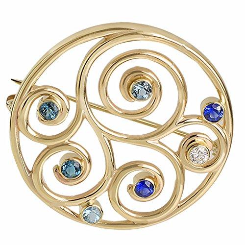 Sorella Jewelry Studio 14K Solid Gold Family Spiral 36mm Birthstone Brooch Pin (Yellow-Gold)