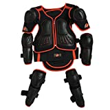 Takuey Kids Motorcycle Armor Suit Dirt Bike Chest Spine Protector Back Shoulder Arm Elbow Knee Protector Motocross Racing Skiing Skating Body Armor Vest Sports Safety Pads 3 Colors (Red, XS)