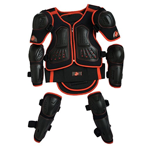 Takuey Kids Motorcycle Armor Suit Dirt Bike Chest Spine Protector Back Shoulder Arm Elbow Knee Protector Motocross Racing Skiing Skating Body Armor Vest Sports Safety Pads 3 Colors (Red, S)