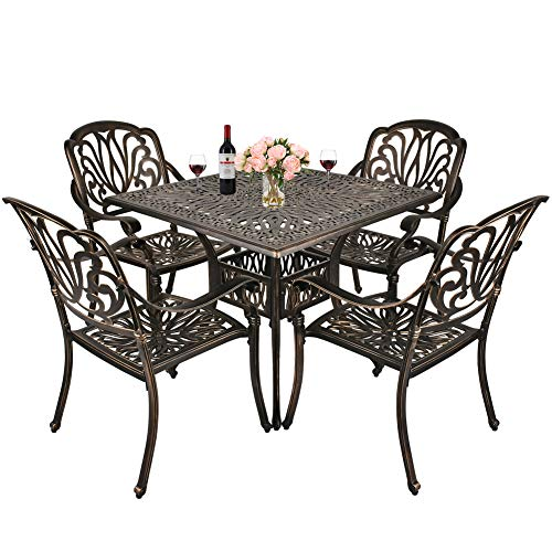 TITIMO 5-Piece Outdoor Furniture Dining Set, All-Weather Cast Aluminum Conversation Set Includes 4 Chairs and 1 Square Table with Umbrella Hole for Patio Garden Deck, Blooming Flower Design