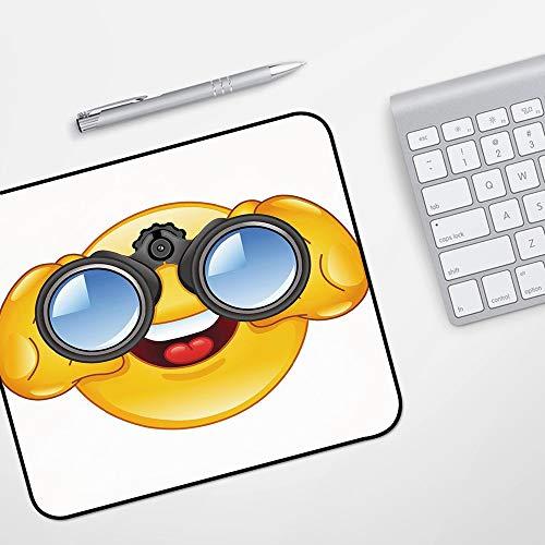 Gaming Mousepad Mauspad,Emoji, Smiley-Gesicht mit einer Teleskop-Fernglas-Brille, die draußen Cartoon-Druck, Gelb und Blau aufpasst,Komfort Mousepad - verbessert Präzision und Geschwindigkeit