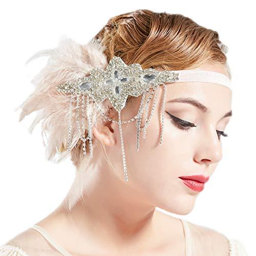 Coucoland Hoofdband voor dames in 1920 stijl, flapper haarband, Great Gatsby, voor carnavalskostuum